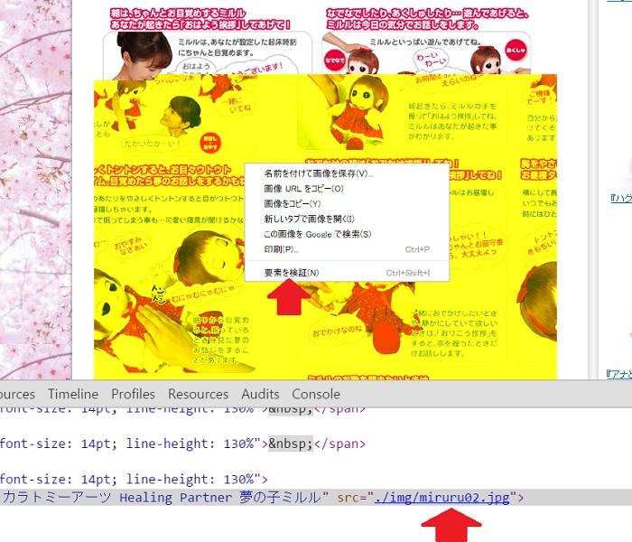 Chrome画像名の調べ方